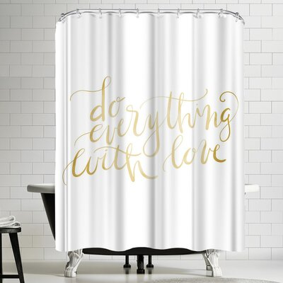 Jetty Printables Gold Do Everything Typography Shower Curtain
