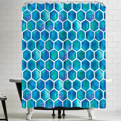 Elena Oneill Blue Hexagons Shower Curtain
