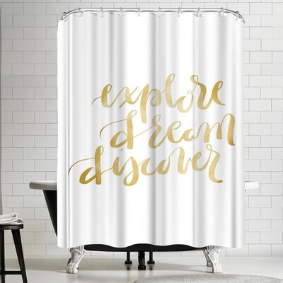 Jetty Printables Gold Explore Dream Discover Typography Shower Curtain