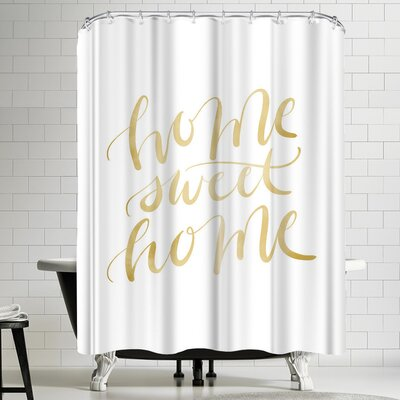 Jetty Printables Gold Home Sweet Home Typography Shower Curtain