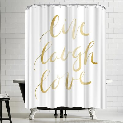 Jetty Printables Gold Live Laugh Love Typography Shower Curtain