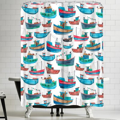 Elena Oneill Fishing Boats Shower Curtain