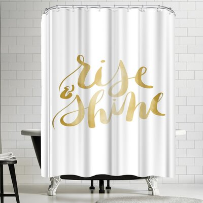 Jetty Printables Gold Rise and Shine Typography Shower Curtain