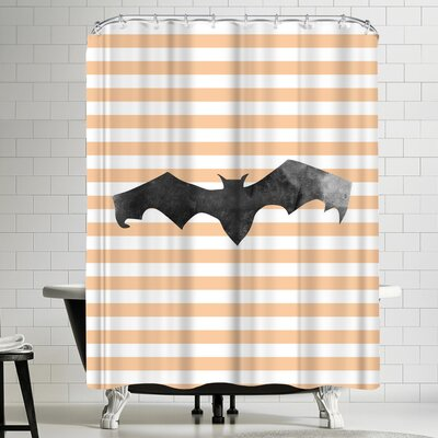 Jetty Printables Halloween Striped Bat Shower Curtain