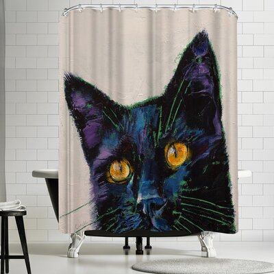 Michael Creese Killer Black Cat Shower Curtain
