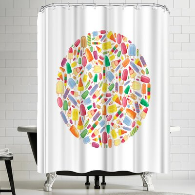 Elena Oneill Ice Lolly Circle Shower Curtain