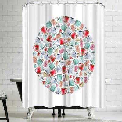 Elena Oneill Mugs Circle Shower Curtain