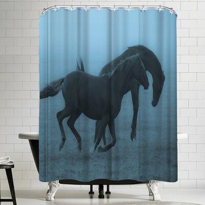 1x Horses in the Fog Shower Curtain