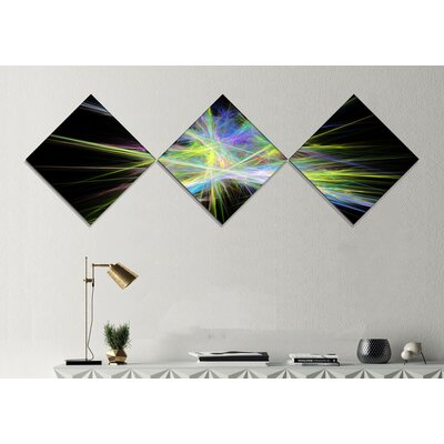 'Yellow Blue Chaos Multicoloured Rays' Graphic Art Print Multi-Piece Image on Canvas URBR1055 41310080