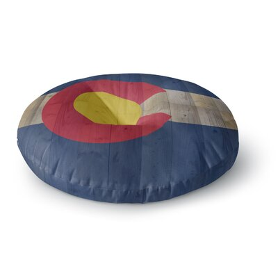 Bruce Stanfield Flag of Colorado Round Floor Pillow Size: 26 x 26, Color: Vintage Blue/Red