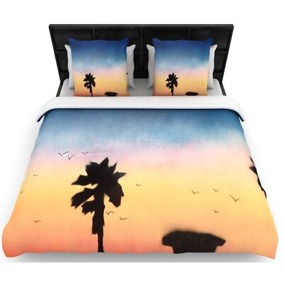 Infinite Spray Art Carlsbad Sunset Woven Duvet Cover Size: King