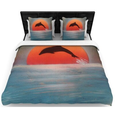 Infinite Spray Art Dolphin Sunset Woven Duvet Cover Size: Full/Queen