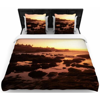 Nick Nareshni Rocks Of La Jolla Sunset Woven Duvet Cover Size: King