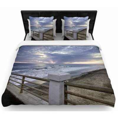 Nick Nareshni Oceanside Pier At Sunset Coastal Photography Woven Duvet Cover Size: Twin