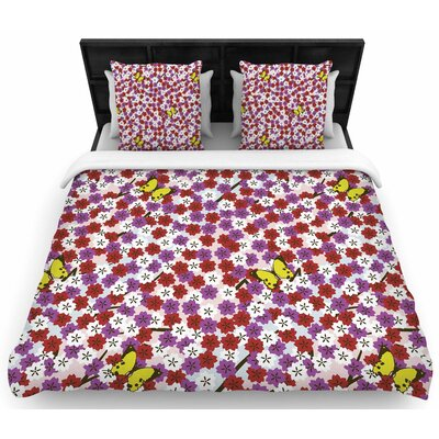 Setsu Egawa Cherry Blossom And Butterfly Woven Duvet Cover Size: Full/Queen