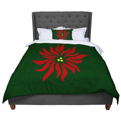 Designs Pointsettia Floral Comforter Size: King
