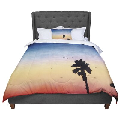 Infinite Spray Art Carlsbad Sunset Coastal Painting Comforter Size: Queen