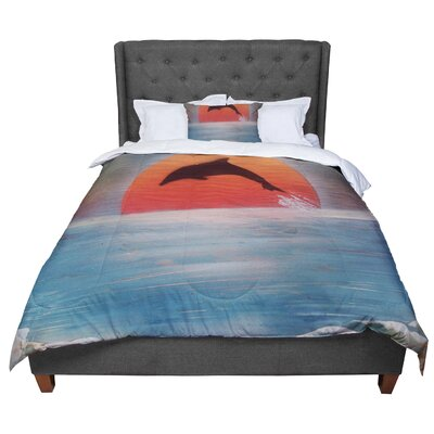 Infinite Spray Art Dolphin Sunset Comforter Size: Twin