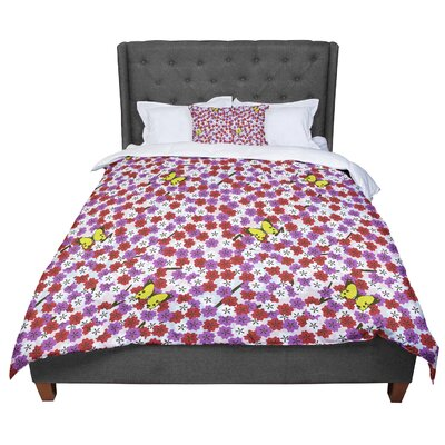 Setsu Egawa Cherry Blossom And Butterfly Comforter Size: King