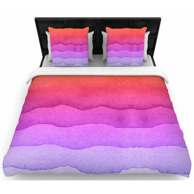 Ombre Sunset Watercolor Woven Duvet Cover Color: Coral Abstract, Size: King