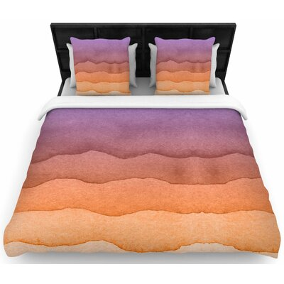 Ombre Sunset Watercolor Woven Duvet Cover Color: Orange, Size: King