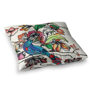 Sonal Nathwani Magic Garden Rainbow Bird Square Floor Pillow Size: 26 x 26