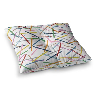 Project M Sprinkles Square Floor Pillow Size: 23 x 23, Color: White/Rainbow