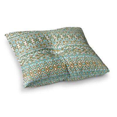 Pom Graphic Design Mint and Tribals Square Floor Pillow Size: 26 x 26
