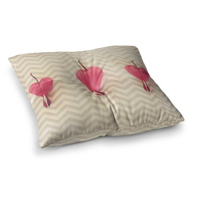 Robin Dickinson Heart with Chevrons Floral Square Floor Pillow Size: 23