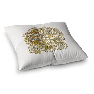 Pom Graphic Design Bohemian Succulents II Floral Square Floor Pillow Size: 26 x 26, Color: White