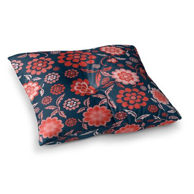 Nicole Ketchum Cherry Floral Square Floor Pillow Size: 26 x 26, Color: Black/Red