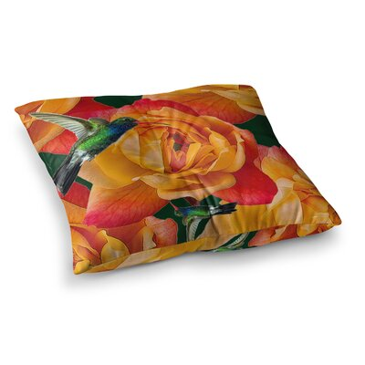 Shirlei Patricia Muniz Roses in Hummingbird Nature Square Floor Pillow Size: 26 x 26