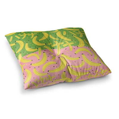 Strawberringo Banana Pattern Abstract Food Square Floor Pillow Size: 23 x 23, Color: Green/Pink