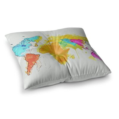 Oriana Cordero World Map Square Floor Pillow Size: 23 x 23