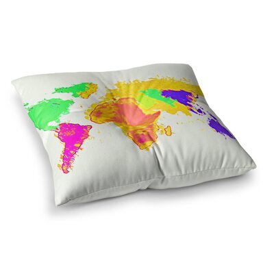 Oriana Cordero My World Rainbow Map Square Floor Pillow Size: 26 x 26