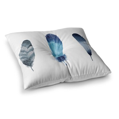 Strawberringo Three Feathers Square Floor Pillow Size: 23 x 23
