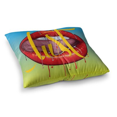 Roberlan Lust Kiss Lips Square Floor Pillow Size: 26 x 26
