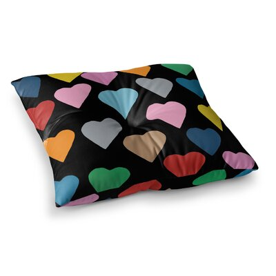 Project M Hearts on Square Floor Pillow Size: 26 x 26, Color: Black/Rainbow