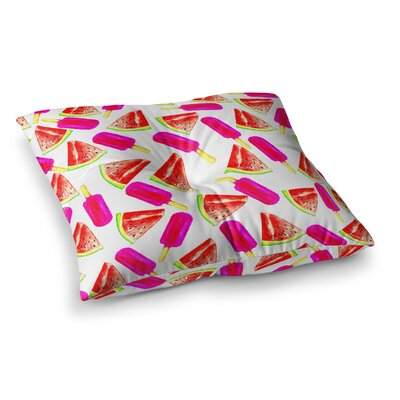 Sreetama Ray Strawberry & Watermelon Square Floor Pillow Size: 23 x 23