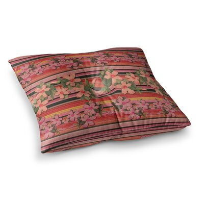 Nina May Peach Hibiscus Stripe Square Floor Pillow Size: 26 x 26