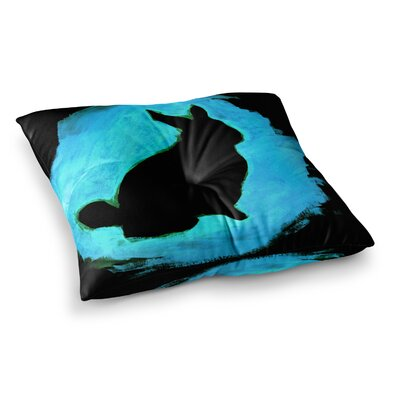Theresa Giolzetti You A Bunny Abstract Paint Square Floor Pillow Size: 26 x 26, Color: Blue