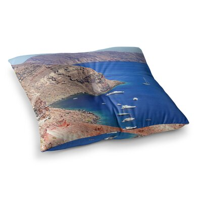 Sylvia Coomes Santorini Coastline Square Floor Pillow Size: 26 x 26