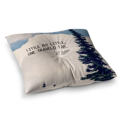 Robin Dickinson Little by Little Clouds Typography Square Floor Pillow Size: 26 x 26