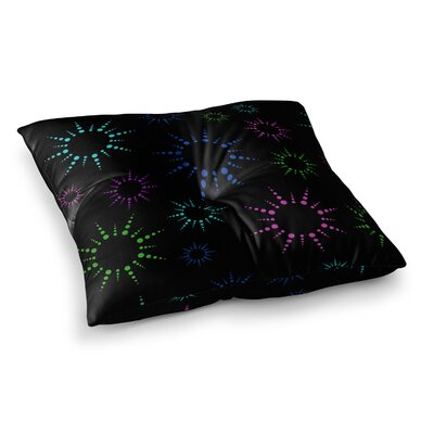 NL Designs Rainbow Fireworks Geometric Square Floor Pillow Color: Black, Size: 26 x 26