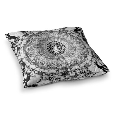 Nina May Tie Dye Mandala Jain Watercolor Square Floor Pillow Size: 23 x 23, Color: White/Black