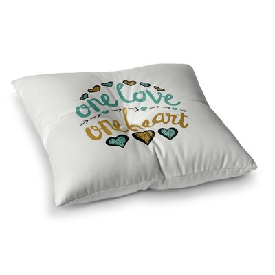 Pom Graphic Design One Love One Heart Typography Illustration Square Floor Pillow Size: 23 x 23