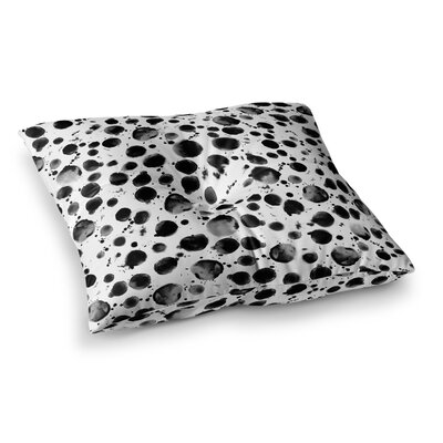 Nina May Water Pebble Painting Square Floor Pillow Size: 23 x 23, Color: Black