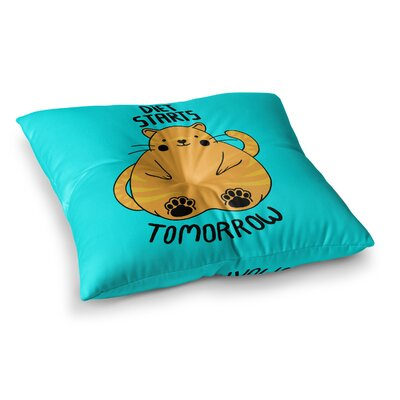 Tobe Fonseca Diet Starts Tomorrow Cat Square Floor Pillow Size: 23 x 23