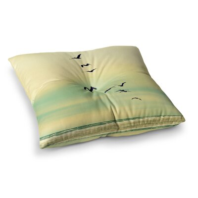 Robin Dickinson Across the Endless Sea Birds Square Floor Pillow Size: 23 x 23