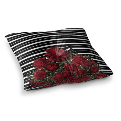 Tobe Fonseca Spring Pattern Lines Red Mixed Media Square Floor Pillow Size: 26 x 26